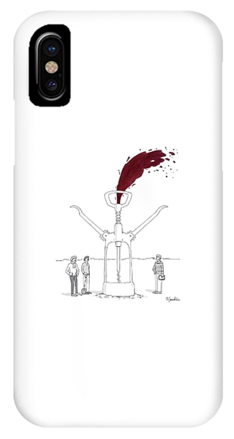 Captionless IPhone X Case featuring the drawing Three Men In Berets Drill Into The Ground by Charlie Hankin
