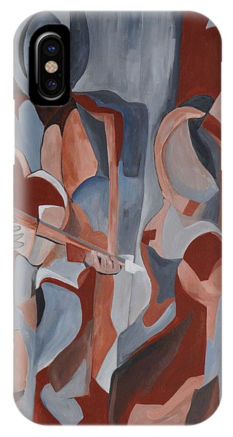 Barbara Moak IPhone X Case featuring the painting Three Musicians by Barbara Moak