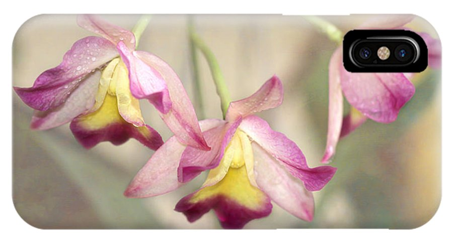 Art IPhone X Case featuring the photograph Three Orchid Beauties by Sabrina L Ryan