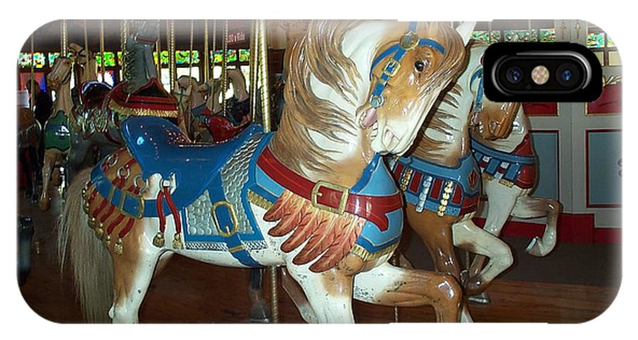 Carousel IPhone Case featuring the photograph Three Ponies In White And Brown - Ct by Barbara McDevitt