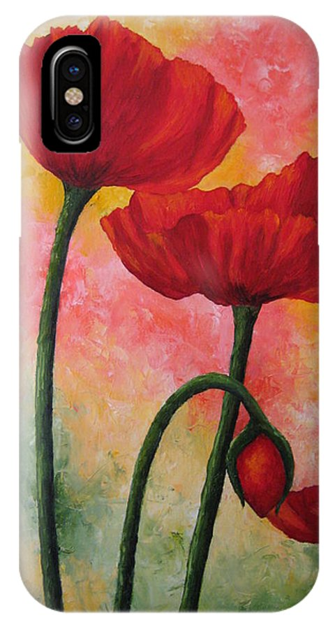 Red Poppies IPhone X Case featuring the painting Three Red Poppies by Darla Brock