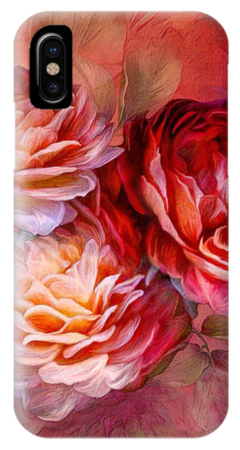 Rose IPhone X Case featuring the mixed media Three Roses Red Greeting Card by Carol Cavalaris