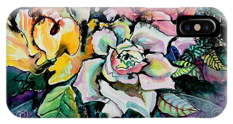 Still Life IPhone X Case featuring the painting Three Roses by Yelena Tylkina