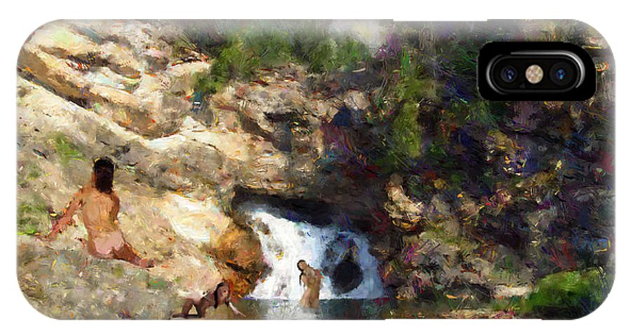 Impressionistic IPhone X Case featuring the digital art Three Swimmers At Waterfall Pool by Jon David
