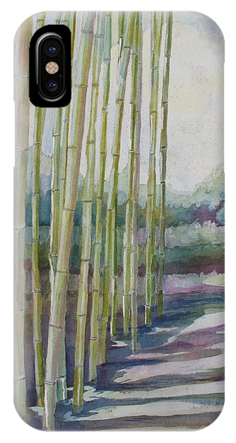 Bamboo IPhone X Case featuring the painting Through The Bamboo Grove by Jenny Armitage