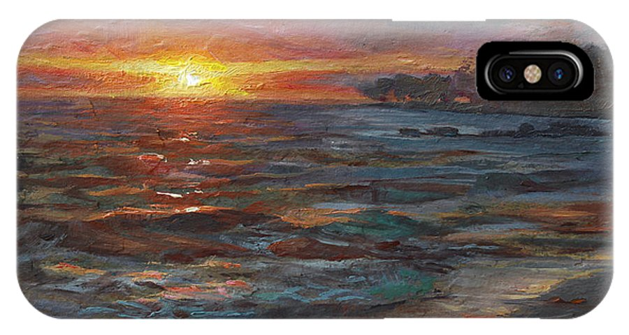 Hawaii IPhone X Case featuring the painting Through The Vog - Hawaii Beach Sunset by Karen Whitworth