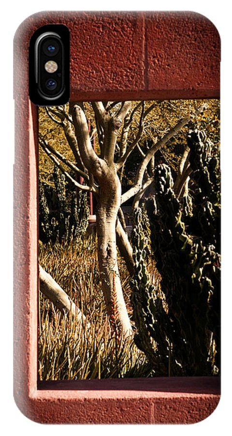 Red IPhone X Case featuring the photograph Through The Window by Tim Gumz