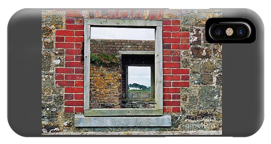 Ireland Art Ruins Windows Outdoors Mansion Travel Charles Fort Europe County Cork Bricks Historic Places Irish Landscape Published Metal Frame Canvas Print Wood Print Available On Greeting Cards T Shirts Tote Bags Shower Curtains Pouches Mugs Weekender Tote Bags And Phone Cases IPhone X / XS Case featuring the photograph Through Windows At Charles Fort, Ireland by Marcus Dagan