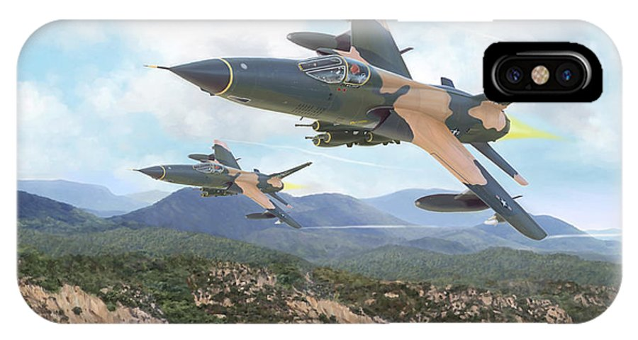 F-105 Thunderchief IPhone Case featuring the painting Thuds Bringin' It Downtown by Mark Karvon