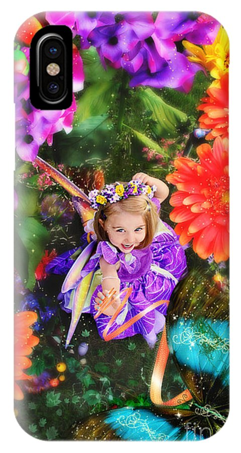Thumbelina Looks Up Holding Her Butterfly In Fairy Tale Garden IPhone X Case
