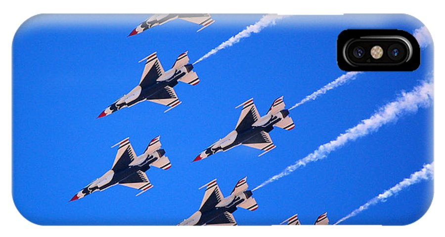 Thunderbirds IPhone X / XS Case featuring the photograph Thunderbirds Jet Team Flying Fast by Debra Thompson
