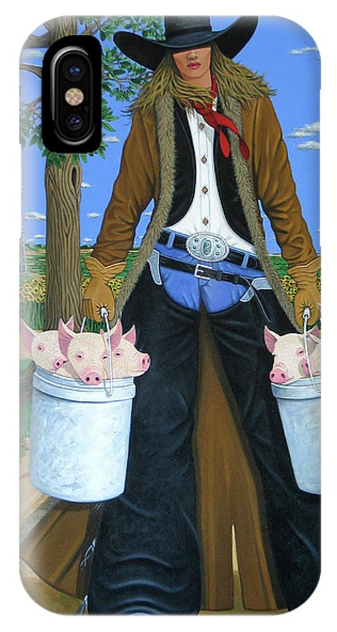 Little Piglets IPhone X Case featuring the painting Tickled Pink by Lance Headlee