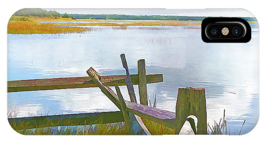High Tide IPhone X Case featuring the photograph Tide And Fence Oil by Barbara McDevitt