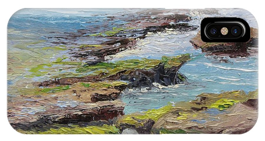 Tide Pools IPhone X Case featuring the painting Tide Pools Revealed  Cardiff by Inka Zamoyska