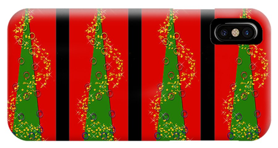 Christmas IPhone X Case featuring the digital art Tidings From Trees by Lisa Knechtel