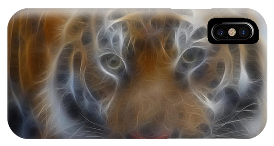 Tiger IPhone X Case featuring the photograph Tiger-5316-fractal by Gary Gingrich Galleries