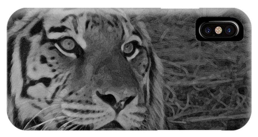 Tiger IPhone X Case featuring the photograph Tiger Bw by Ernie Echols