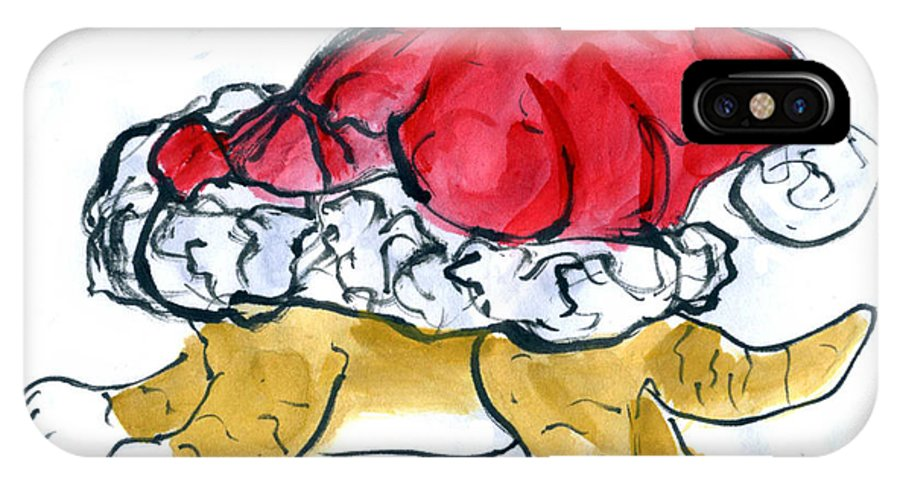 Sumi-e IPhone X Case featuring the painting Tiger Gets Stuck In A Santa Hat by Ellen Miffitt