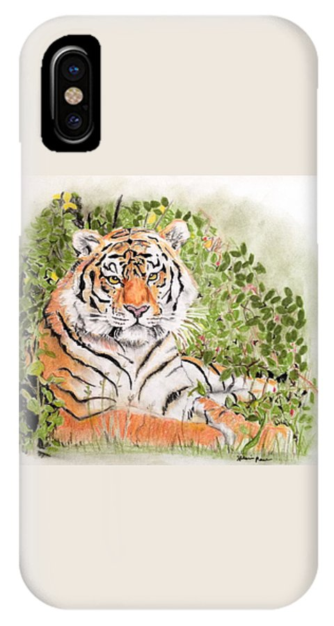 Tiger IPhone X Case featuring the drawing Tiger by Hilari Alsip