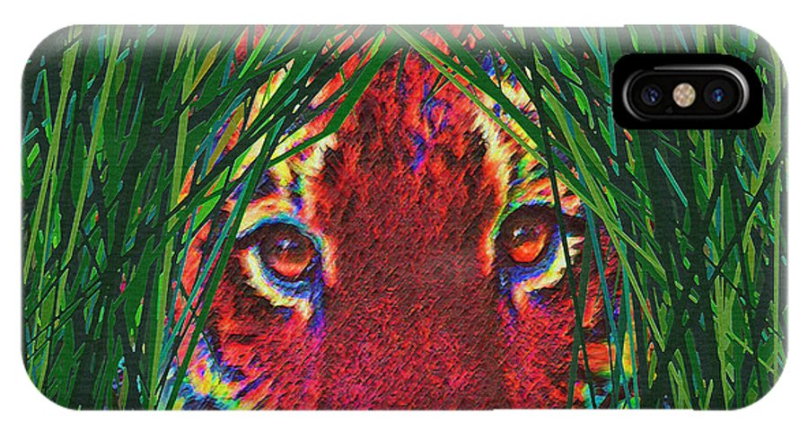 Tiger IPhone X Case featuring the digital art Tiger In The Grass by Jane Schnetlage