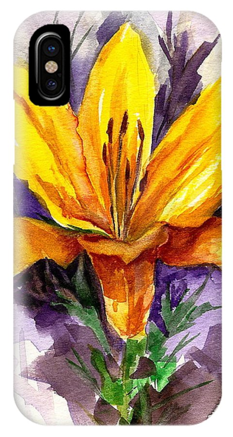 Flower IPhone X Case featuring the painting Tiger Lily by Ellen Canfield