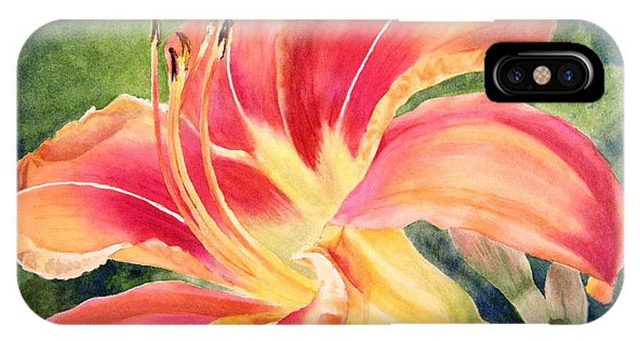 Flower IPhone X Case featuring the painting Tiger Lily by Lisa Pope
