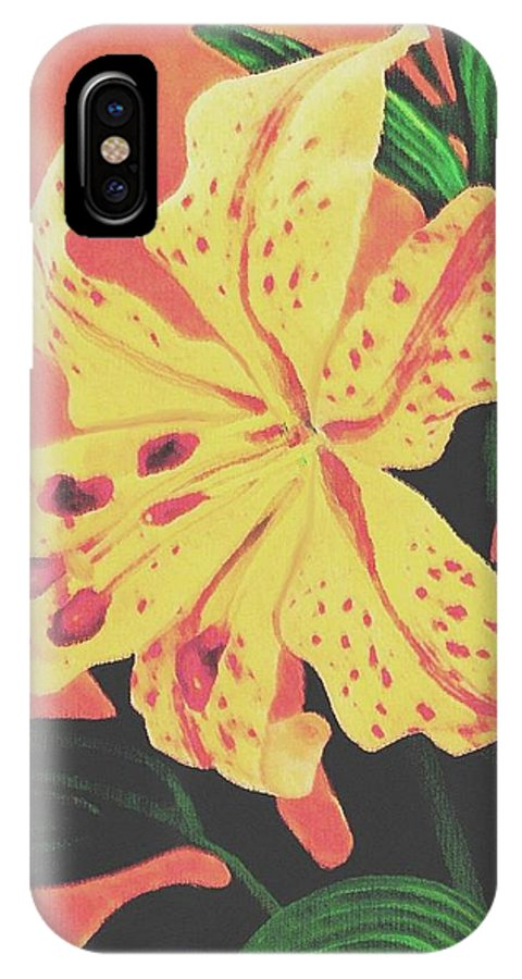 Floral IPhone X Case featuring the painting Tiger Lily by Sophia Schmierer