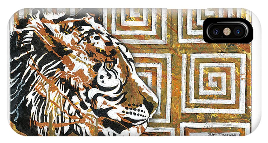 Tiger IPhone X Case featuring the painting Tiger Pattern by Pat Devereaux