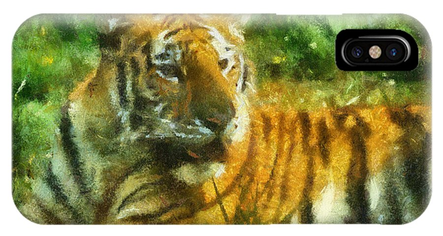 Feline IPhone X Case featuring the photograph Tiger Resting Photo Art 02 by Thomas Woolworth