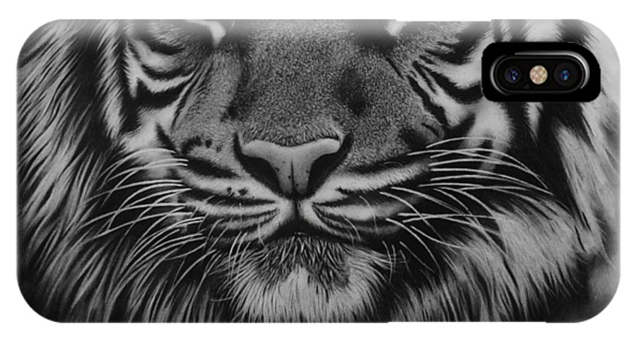 Tiger IPhone X Case featuring the drawing Tiger by Samantha Howell