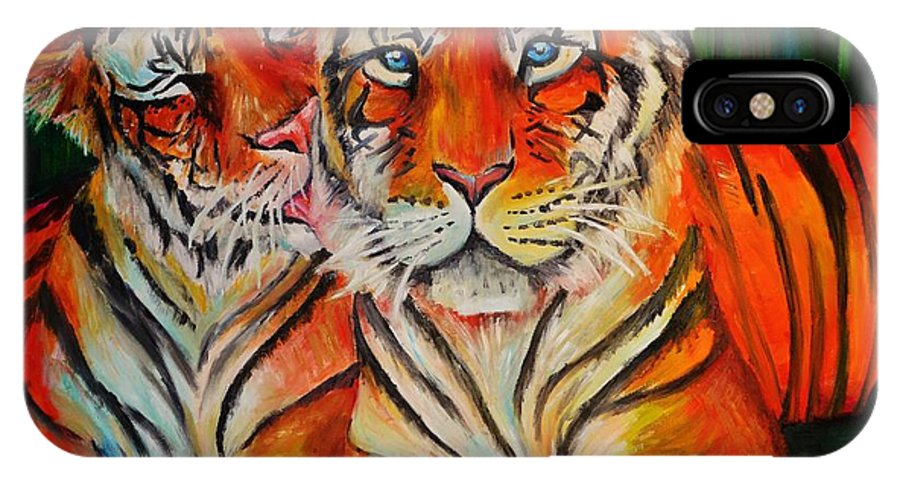Tigers IPhone X Case featuring the painting Tigers by Kali Koltz