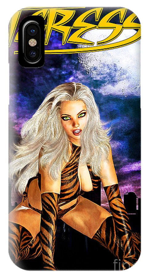 Comic IPhone X Case featuring the mixed media Tigress by Alicia Hollinger