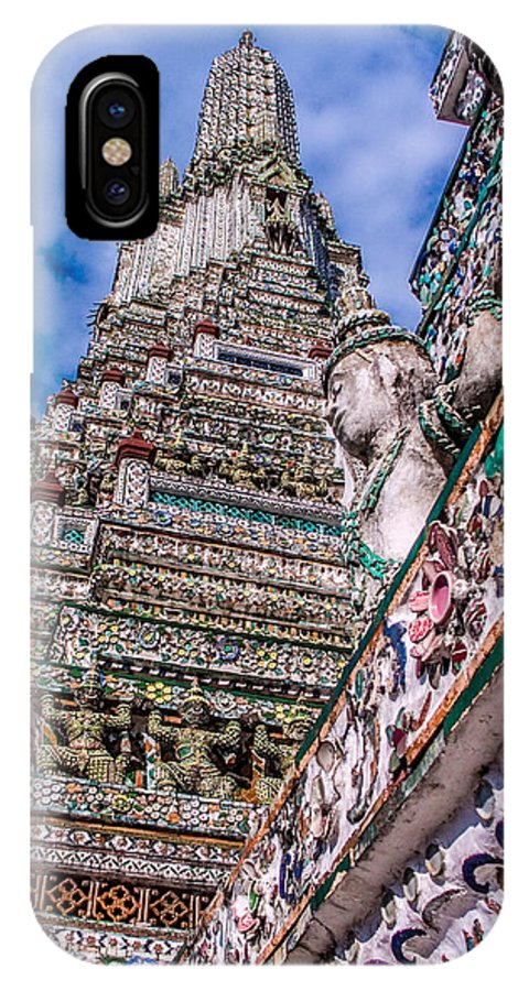 Tile IPhone X Case featuring the photograph Tile Work On Wat Arun Bankok by Roy Bendell