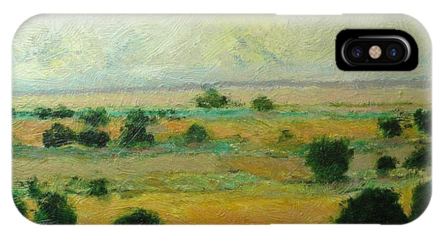 Landscape IPhone X Case featuring the painting Till The Clouds Rolls By by Allan P Friedlander