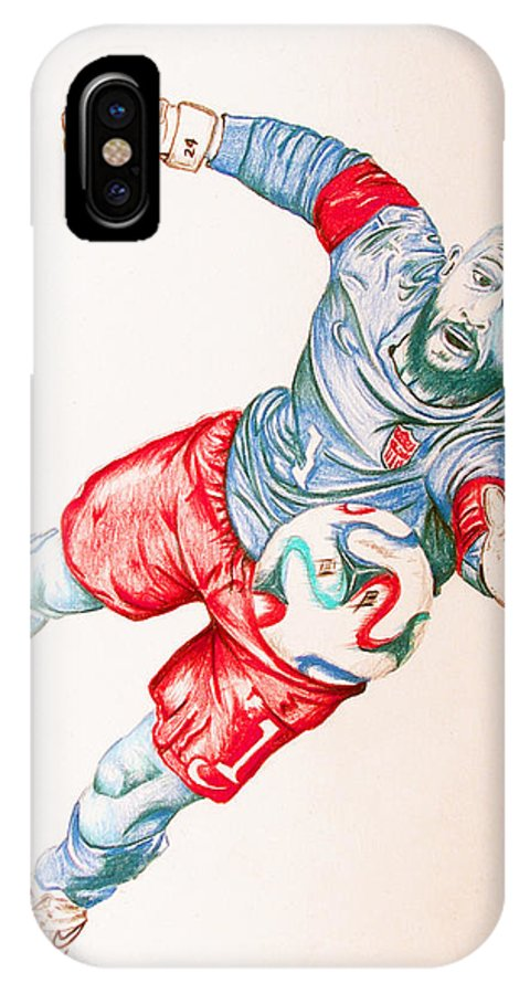 Tim Howard IPhone X Case featuring the drawing Tim Howard Drawing by Dora Taggett