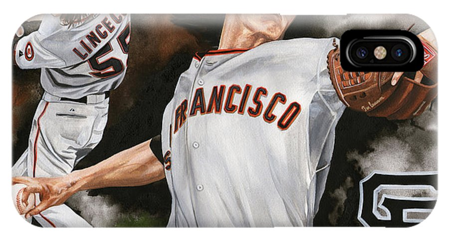 San Francisco Giants IPhone X Case featuring the painting Tim Lincecum by Joshua Jacobs