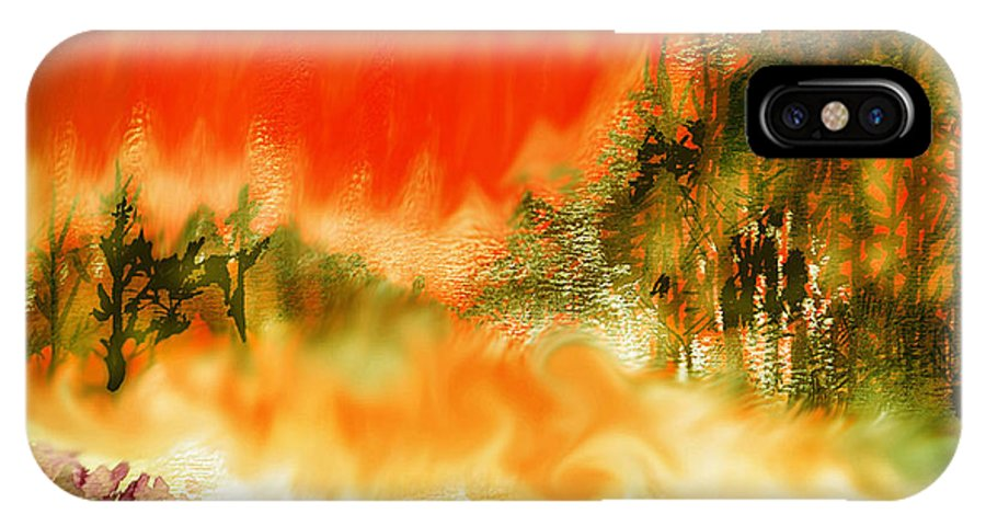 Timber Blaze IPhone X Case featuring the mixed media Timber Blaze by Seth Weaver