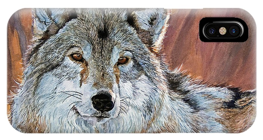 Wolf IPhone X / XS Case featuring the painting Timber Wolf by David Lloyd Glover