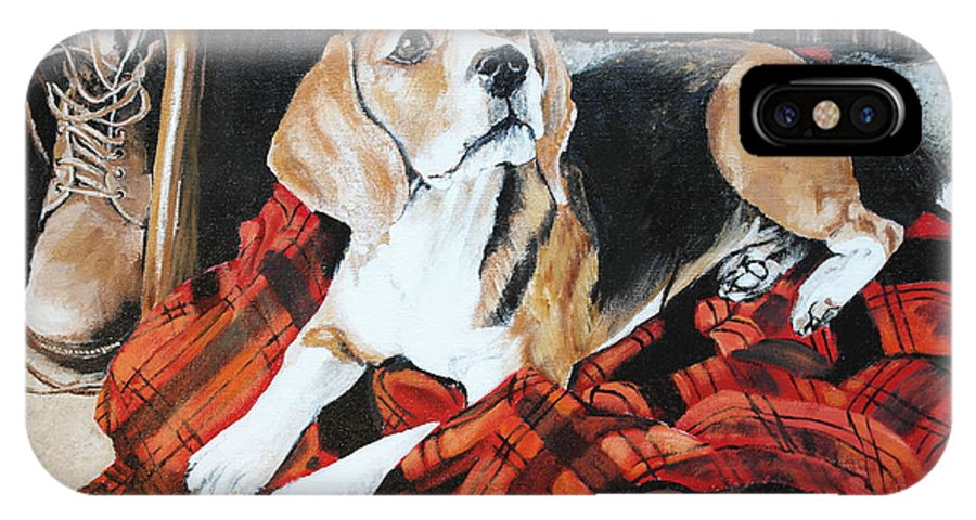 Dog IPhone X Case featuring the painting Time For Walk by Dorota Ryczkowska