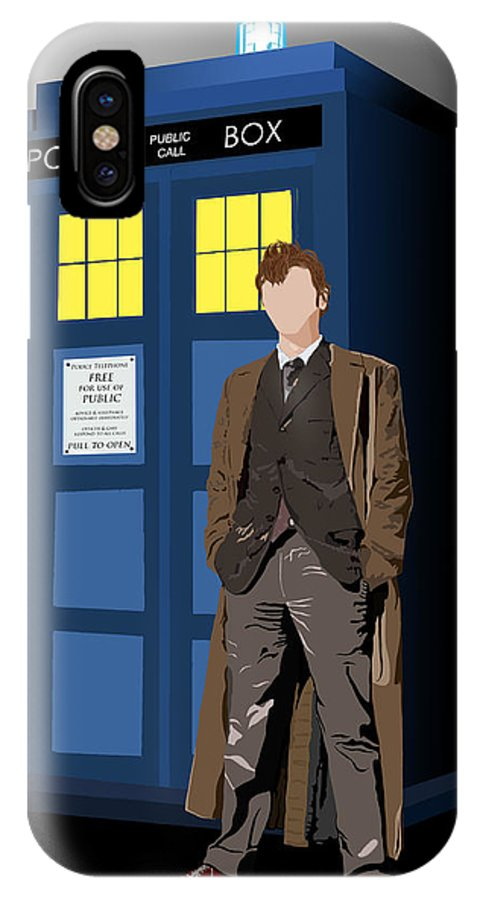 Doctor Who IPhone X Case featuring the digital art Time Lord And His Tardis by Jennifer Urciuolo