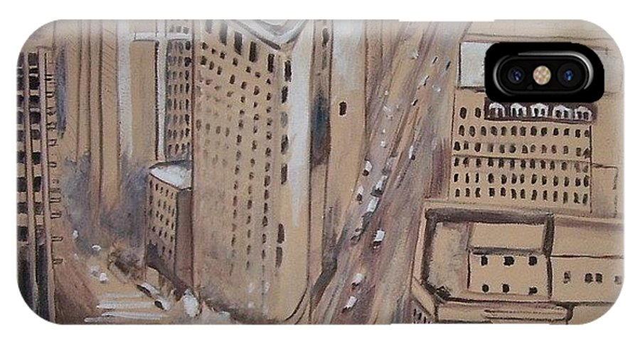 Ny City IPhone X Case featuring the painting Time Square by Richard Leizear
