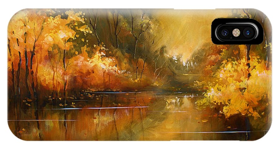 Landscape IPhone X Case featuring the painting 'Timeless' by Michael Lang