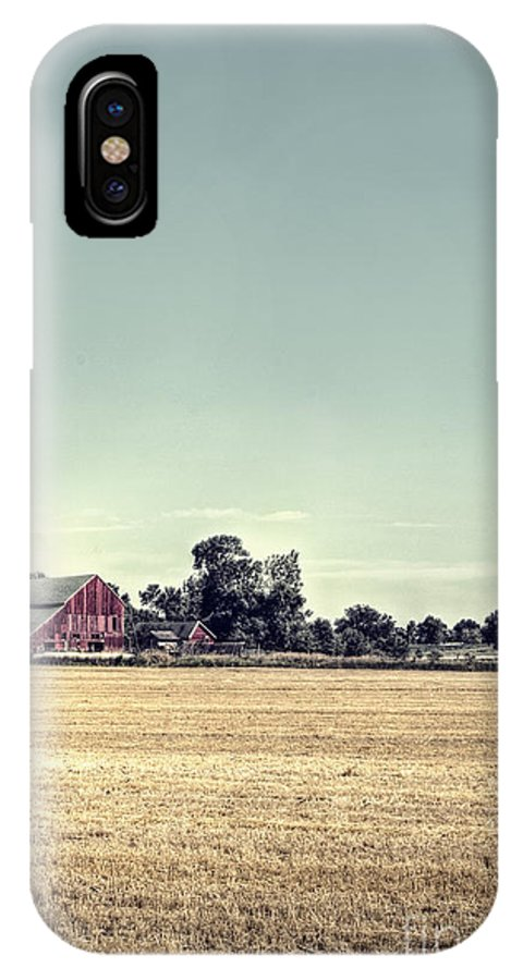 Field; Pasture; Farm; Grasses; Wheat; Plowed; Red; Barn; Farm; Outside; Outdoors; Day; Nature; Sky; Rural; Land; Lines; Path; Expanse; Golden; Vintage; Worn; Weathered IPhone X Case featuring the photograph Times Gone By by Margie Hurwich