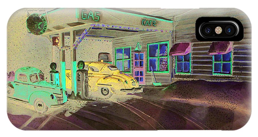 Rick Huotari IPhone X / XS Case featuring the painting Times Past Gas Station by Rick Huotari