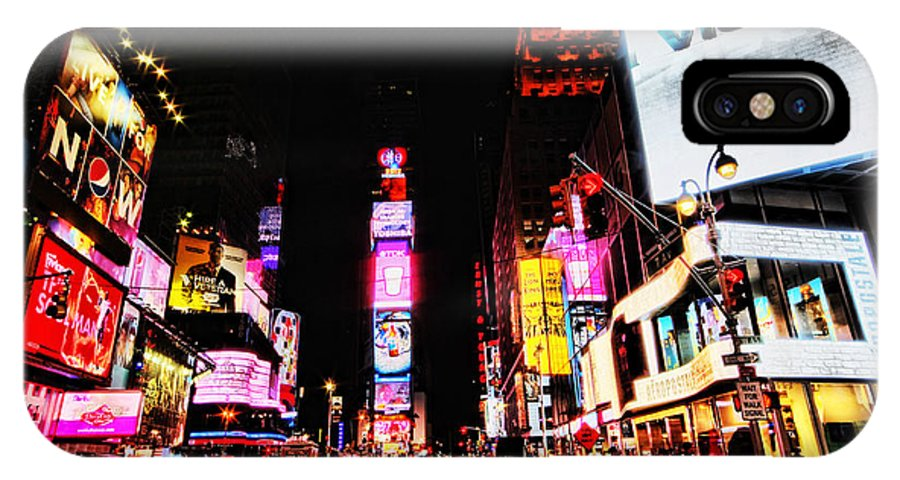 Times IPhone X Case featuring the photograph Times Square by Andrew Paranavitana