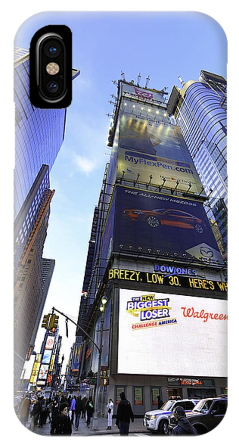 Times Square IPhone X Case featuring the digital art Times Square by E Osmanoglu