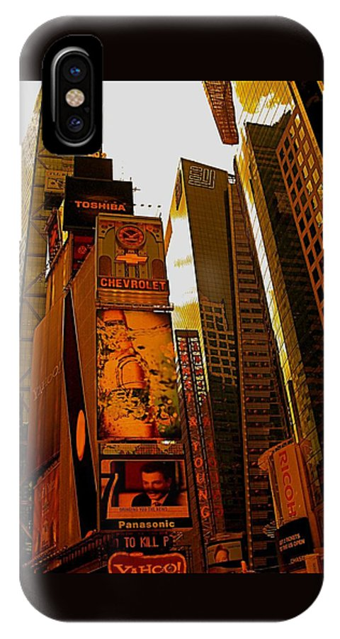Manhattan Posters And Prints IPhone X Case featuring the photograph Times Square In Manhattan by Monique's Fine Art