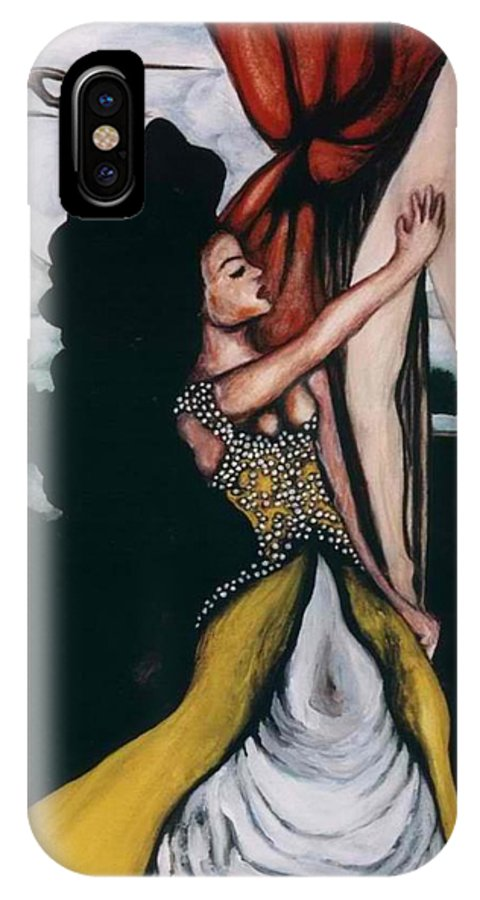 To Have And To Hold IPhone X Case featuring the painting To Have And To Hold  Mourning The Loss Of A Lover by Ayka Yasis