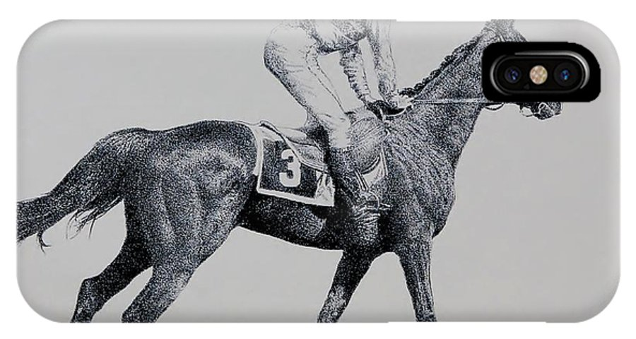Racehorse Horse Horseracing Thorobreds Jockey IPhone Case featuring the drawing To The Gate by Tony Ruggiero
