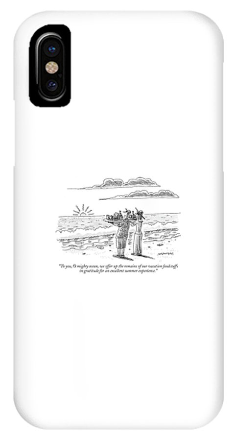 Seashore Vacations Word Play Seasons Food  (couple On Beach Holding Trays Of Food As A Sacrifice To The Ocean.) 119236 Mst Mick Stevens Sumnerperm Sku: 128018 IPhone X Case featuring the drawing To You, O Mighty Ocean, We Offer Up The Remains by Mick Stevens